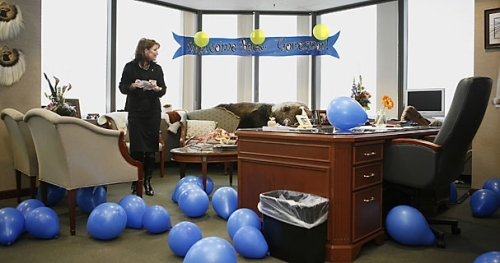 Homecoming Gov. Sarah Palin of Alaska, her office adorned with banners and balloons, went to work in Anchorage Nov. 7 for the first time since joining the GOP presidential ticket.