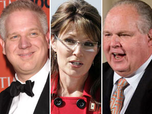 Sarah Palin and her pals Glenn Beck and Rush Limbaugh
