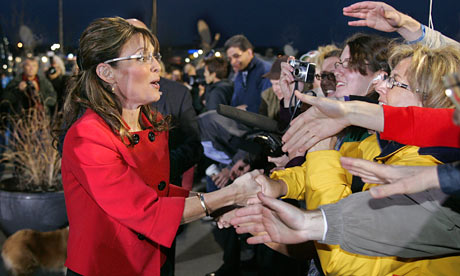 Sarah Palin pressing the flesh in Grand Rapids, on her three-week-long, 14-state promotional book tour.